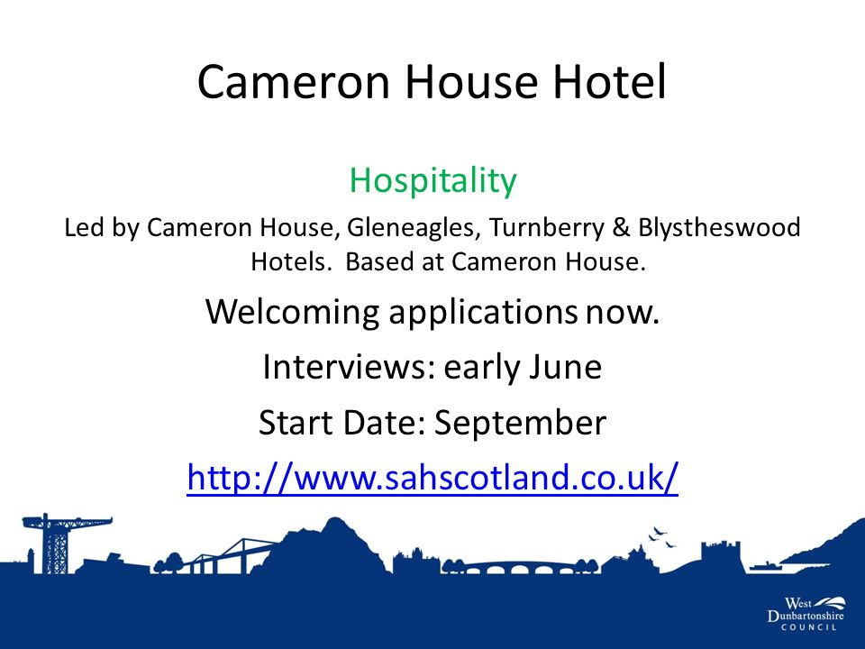 Cameron House Hotel Hospitality Led by Cameron House, Gleneagles, Turnberry & Blystheswood Hotels.