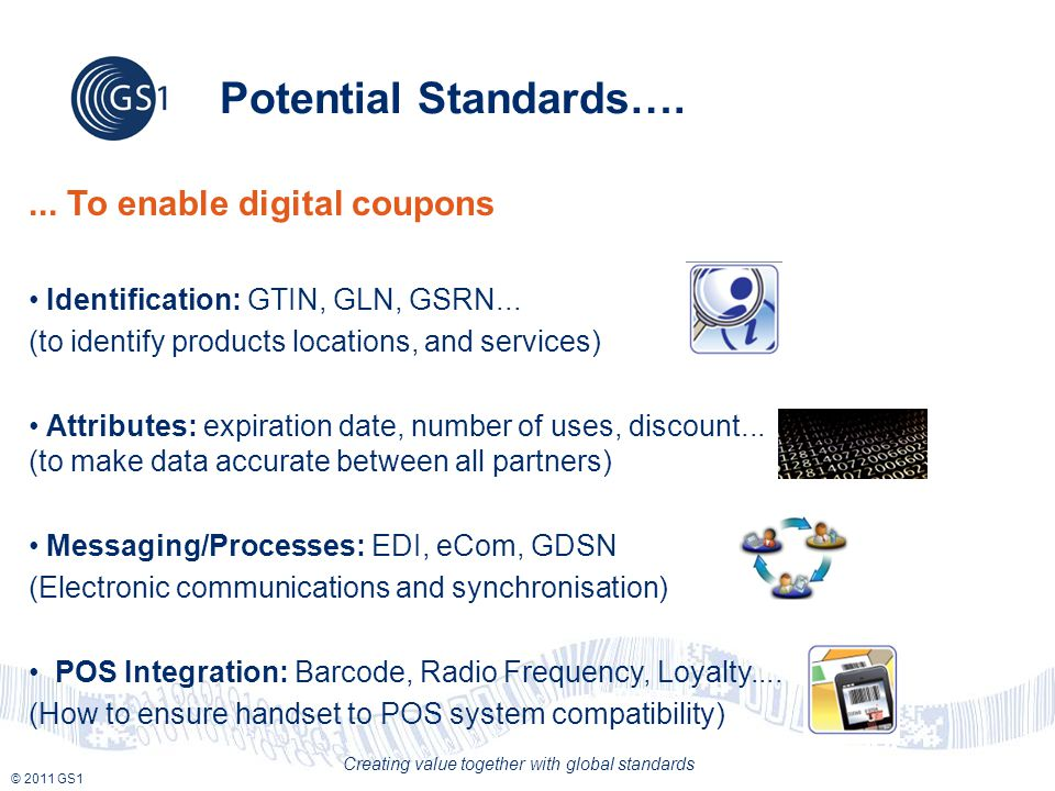 © 2011 GS1 Creating value together with global standards Potential Standards…....