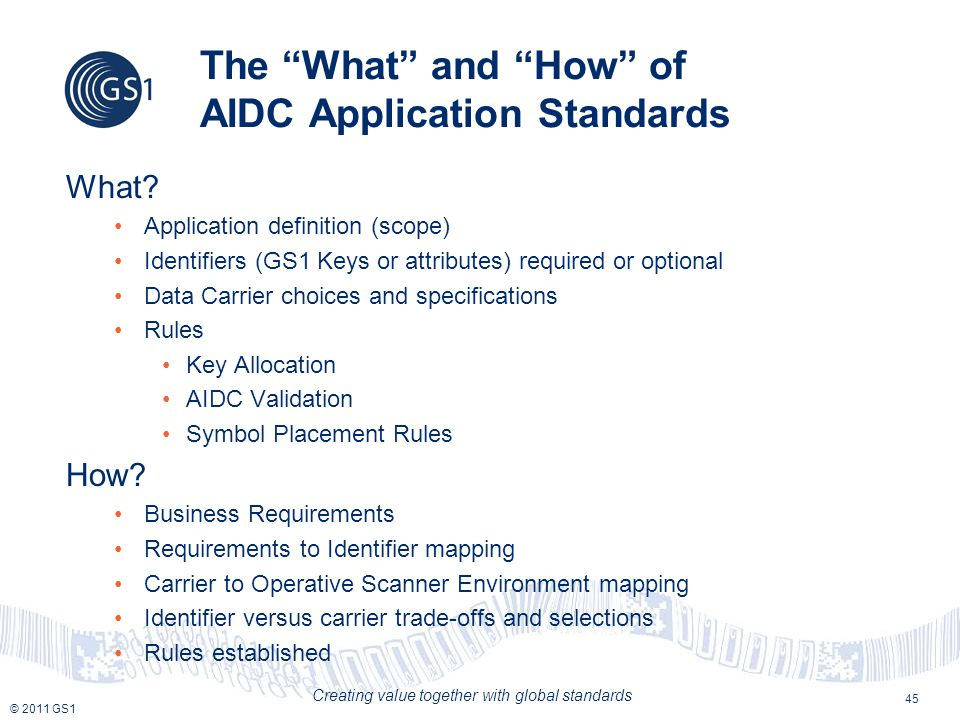 © 2011 GS1 Creating value together with global standards The What and How of AIDC Application Standards What.