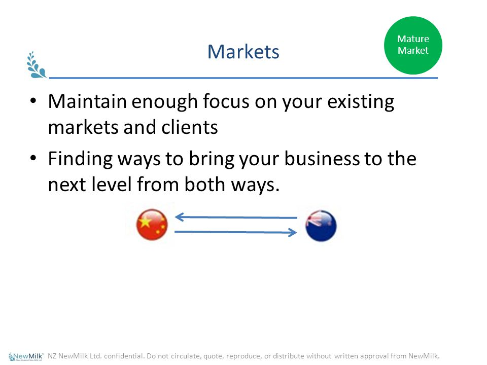 Markets Maintain enough focus on your existing markets and clients Finding ways to bring your business to the next level from both ways.