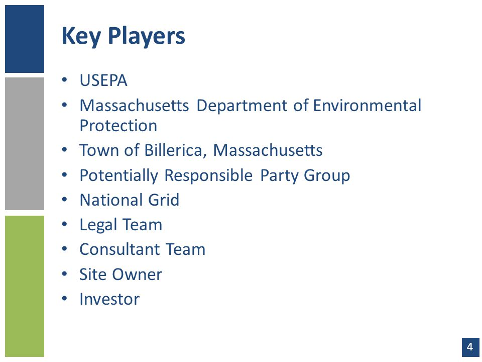 Key Players USEPA Massachusetts Department of Environmental Protection Town of Billerica, Massachusetts Potentially Responsible Party Group National G