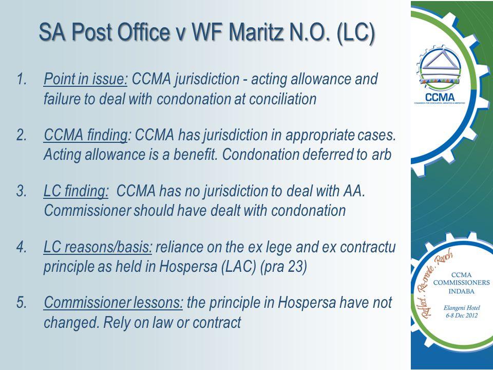 SA Post Office v WF Maritz N.O.