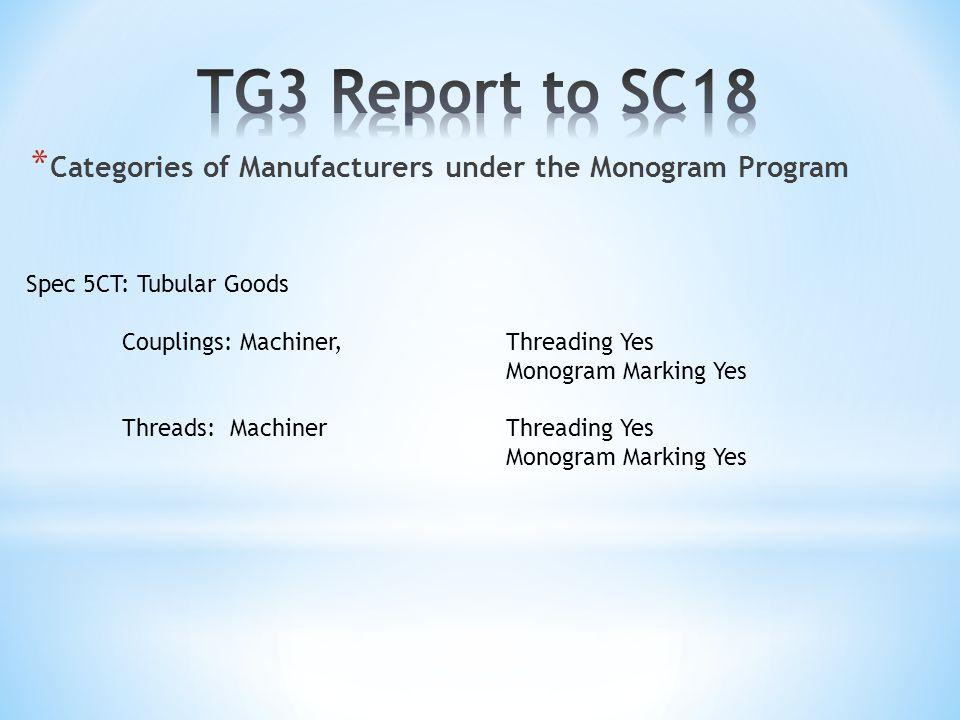 * Categories of Manufacturers under the Monogram Program Spec 5CT: Tubular Goods Couplings: Machiner, Threading Yes Monogram Marking Yes Threads: MachinerThreading Yes Monogram Marking Yes