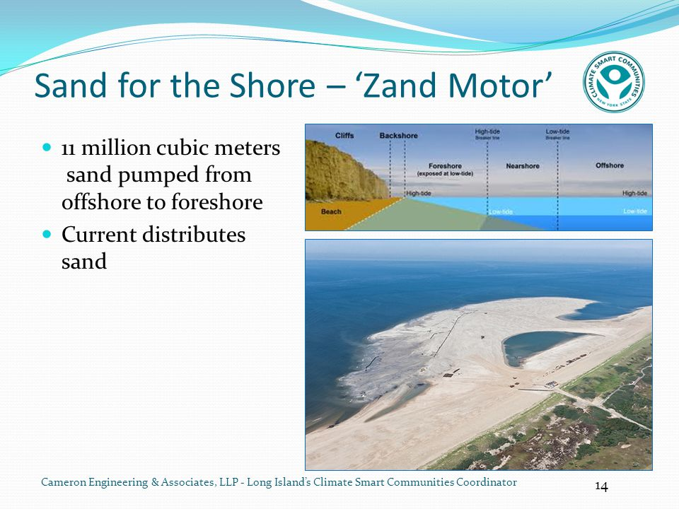 14 Cameron Engineering & Associates, LLP - Long Island's Climate Smart Communities Coordinator Sand for the Shore – 'Zand Motor' 11 million cubic mete
