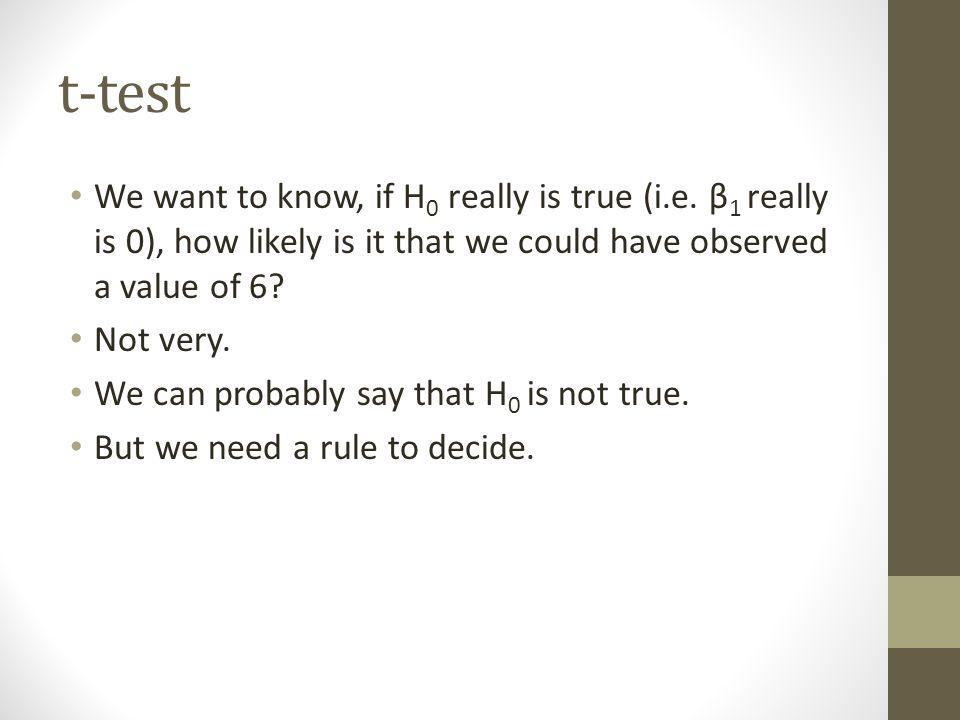 t-test We want to know, if H 0 really is true (i.e. β 1 really is 0), how likely is it that we could have observed a value of 6? Not very. We can prob