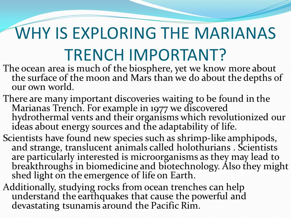 CLIMATE AND LOCATION The Marianas Trench is located in the western Pacific, east of the Philippines.