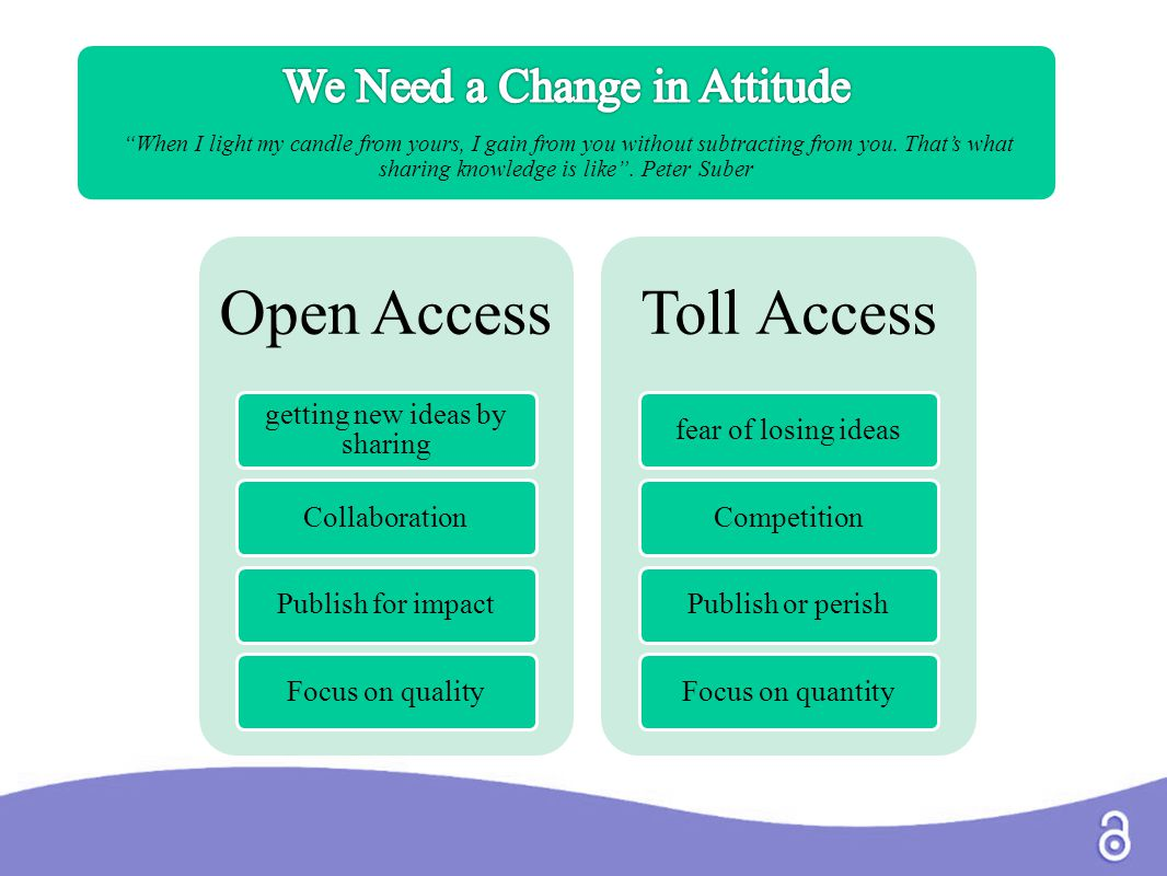 Open Access getting new ideas by sharing CollaborationPublish for impactFocus on quality Toll Access fear of losing ideasCompetitionPublish or perishF