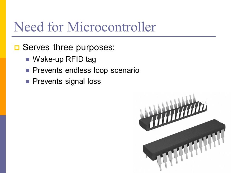 Need for Microcontroller  Serves three purposes: Wake-up RFID tag Prevents endless loop scenario Prevents signal loss