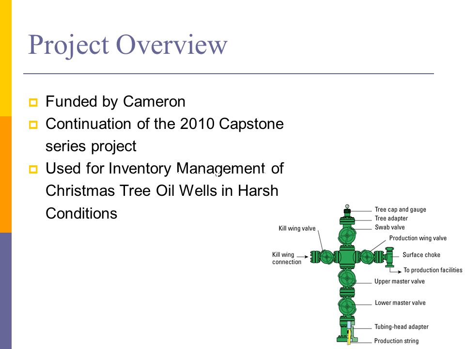 Project Overview  Funded by Cameron  Continuation of the 2010 Capstone series project  Used for Inventory Management of Christmas Tree Oil Wells in