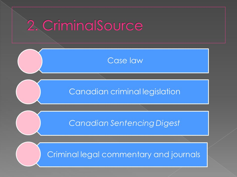 Case law Canadian criminal legislation Canadian Sentencing Digest Criminal legal commentary and journals