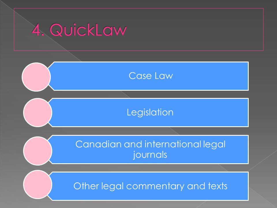 Case Law Legislation Canadian and international legal journals Other legal commentary and texts