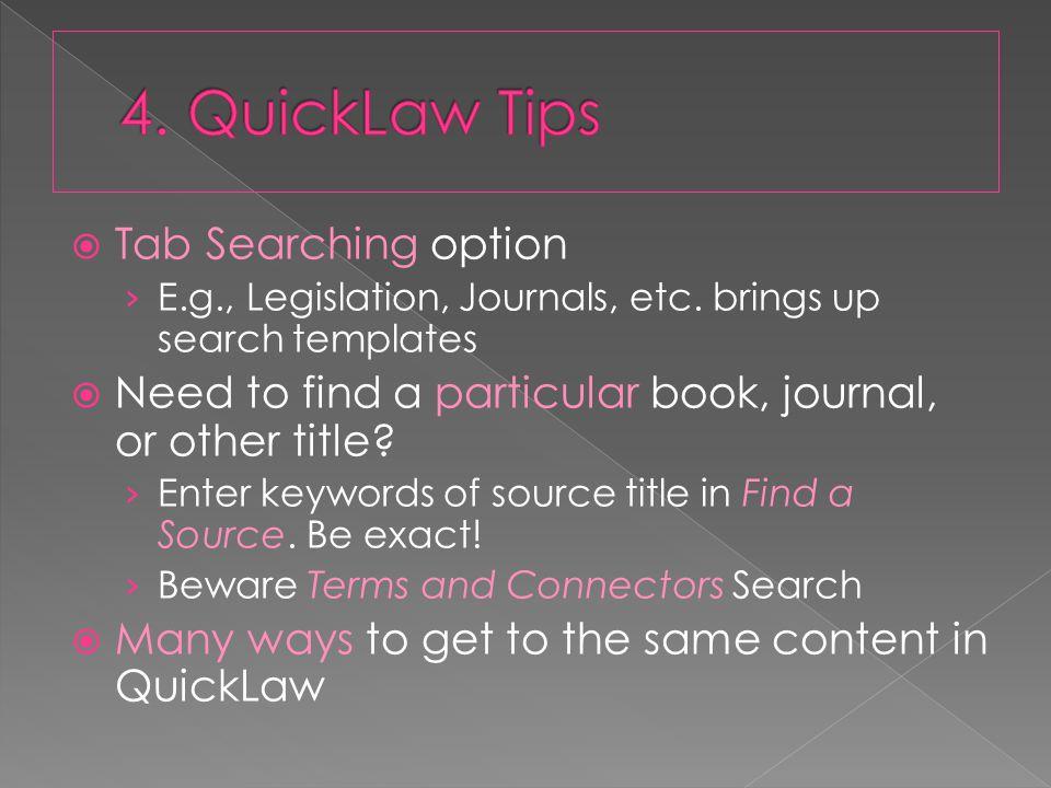  Tab Searching option › E.g., Legislation, Journals, etc.