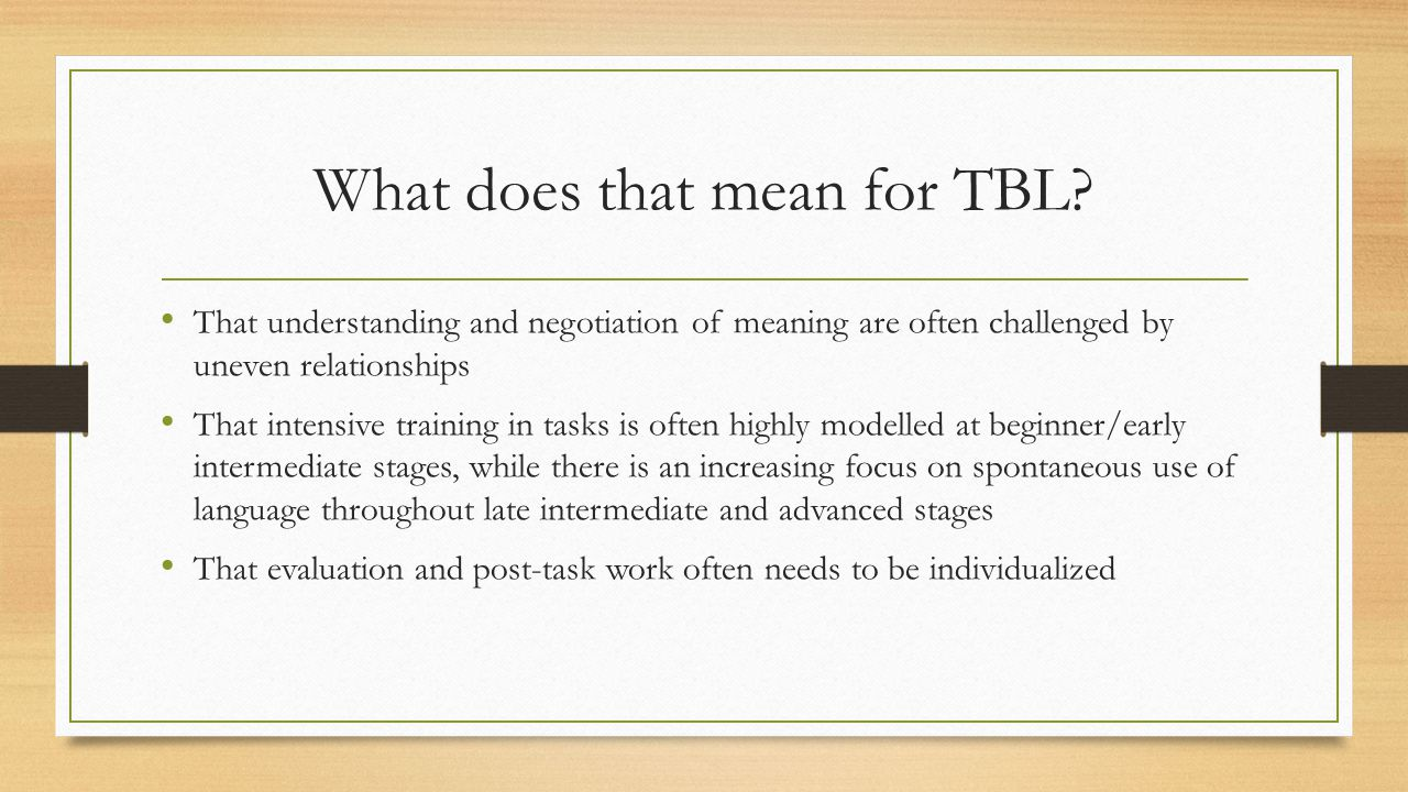 What does that mean for TBL.