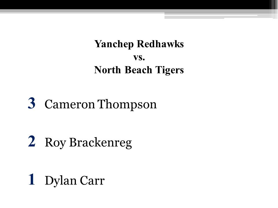 Yanchep Redhawks vs. North Beach Tigers 3 Cameron Thompson 2 Roy Brackenreg 1 Dylan Carr