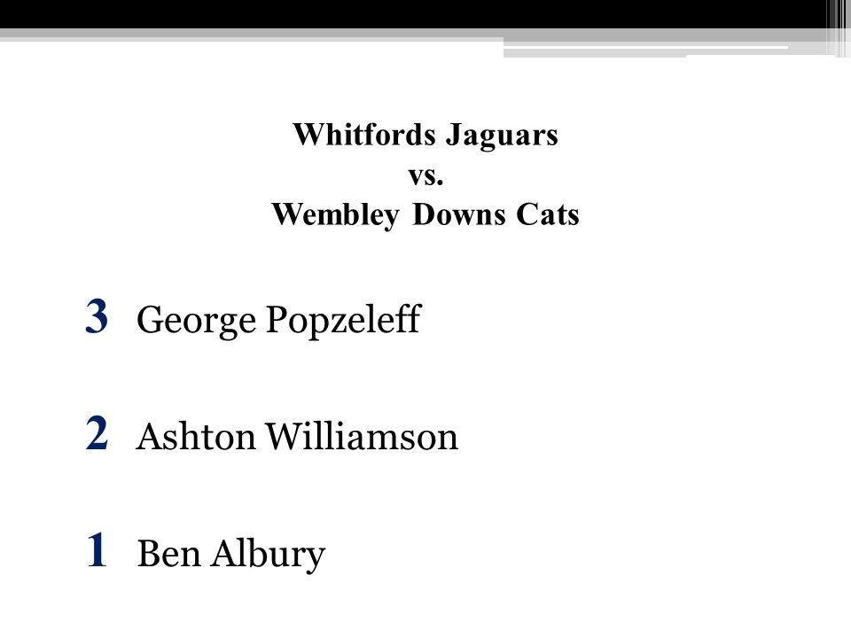 Whitfords Jaguars vs. Wembley Downs Cats 3 George Popzeleff 2 Ashton Williamson 1 Ben Albury