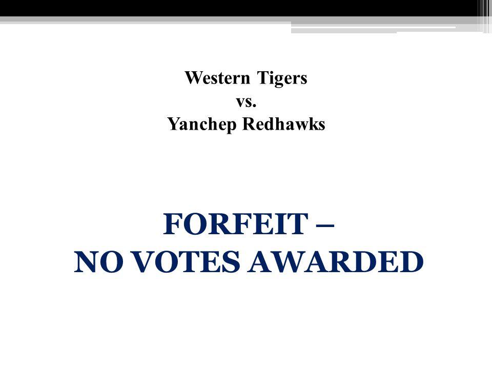 Western Tigers vs. Yanchep Redhawks FORFEIT – NO VOTES AWARDED