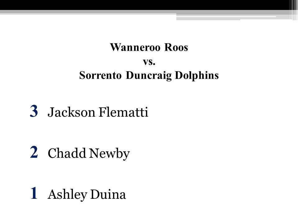 Wanneroo Roos vs. Sorrento Duncraig Dolphins 3 Jackson Flematti 2 Chadd Newby 1 Ashley Duina