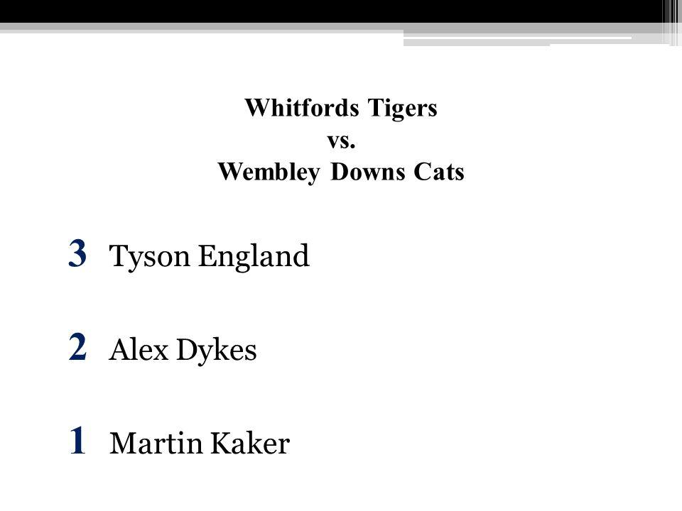 Whitfords Tigers vs. Wembley Downs Cats 3 Tyson England 2 Alex Dykes 1 Martin Kaker