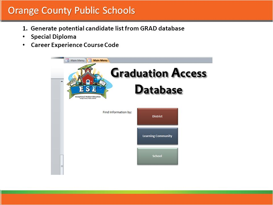1. Generate potential candidate list from GRAD database Special Diploma Career Experience Course Code