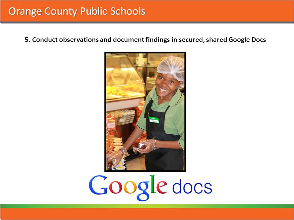 5. Conduct observations and document findings in secured, shared Google Docs