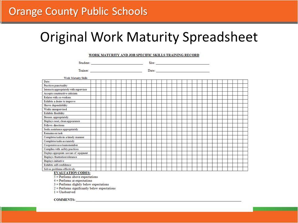 Original Work Maturity Spreadsheet