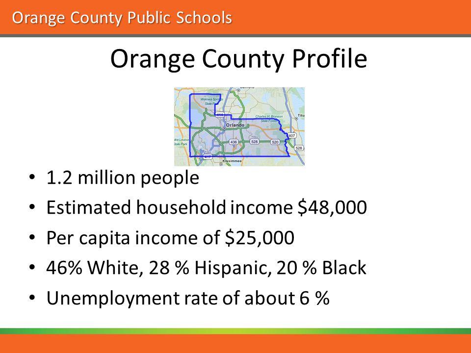 Orange County Public Schools Orange County Profile 1.2 million people Estimated household income $48,000 Per capita income of $25,000 46% White, 28 % Hispanic, 20 % Black Unemployment rate of about 6 %