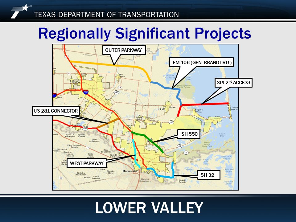 Footer Text Date Regionally Significant Projects SH 32 SH 550 WEST PARKWAY US 281 CONNECTOR SPI 2 nd ACCESS FM 106 (GEN.