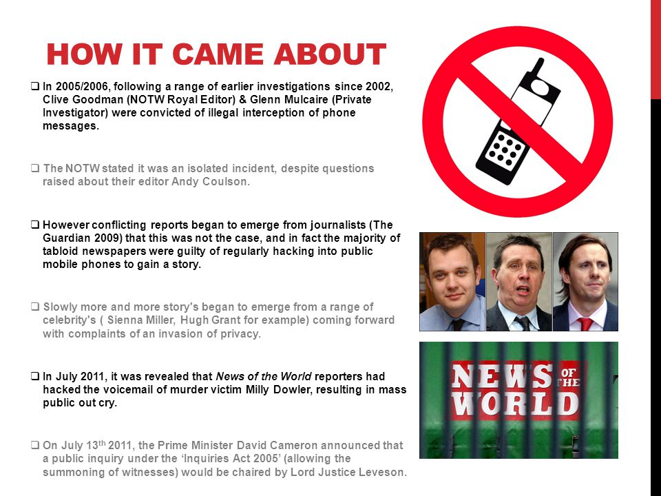 THE ENQUIRY On 20 July 2011, Cameron announced the final terms of reference of Leveson s inquiry, stating that it will extend beyond newspapers to include broadcasters and social media.