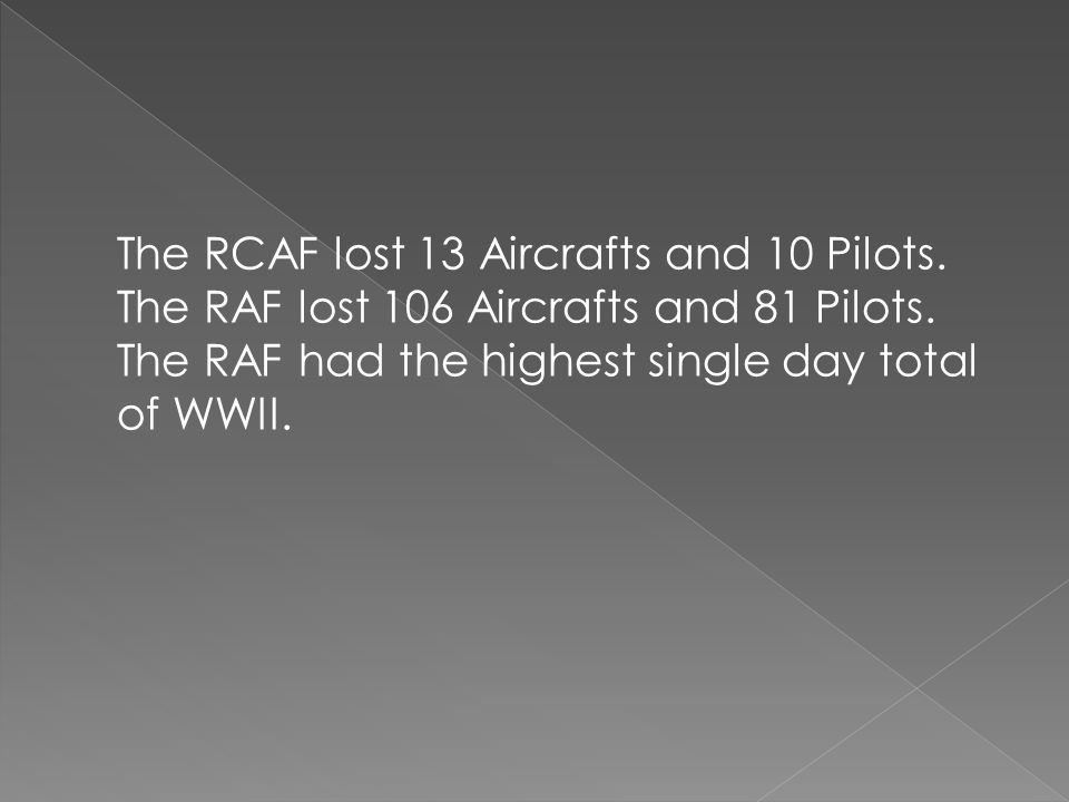 The RCAF lost 13 Aircrafts and 10 Pilots. The RAF lost 106 Aircrafts and 81 Pilots. The RAF had the highest single day total of WWII.