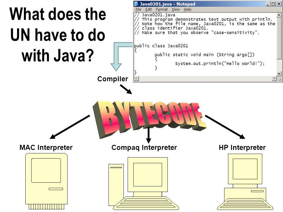 What does the UN have to do with Java? MAC InterpreterCompaq InterpreterHP Interpreter Compiler