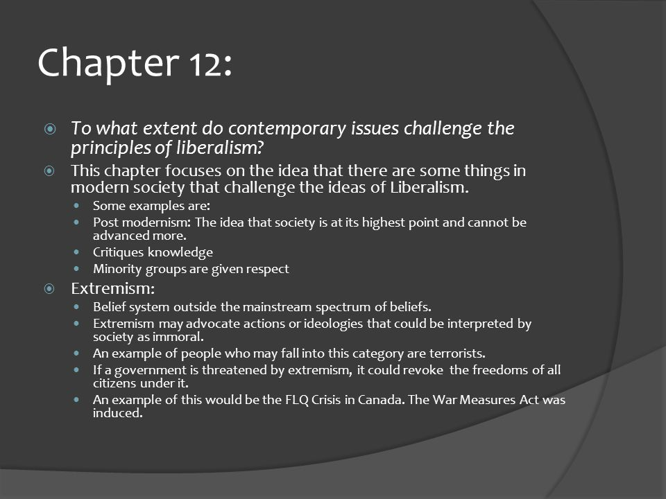 Chapter 12:  To what extent do contemporary issues challenge the principles of liberalism.