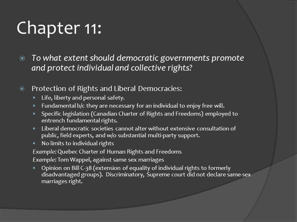 Chapter 11:  To what extent should democratic governments promote and protect individual and collective rights.