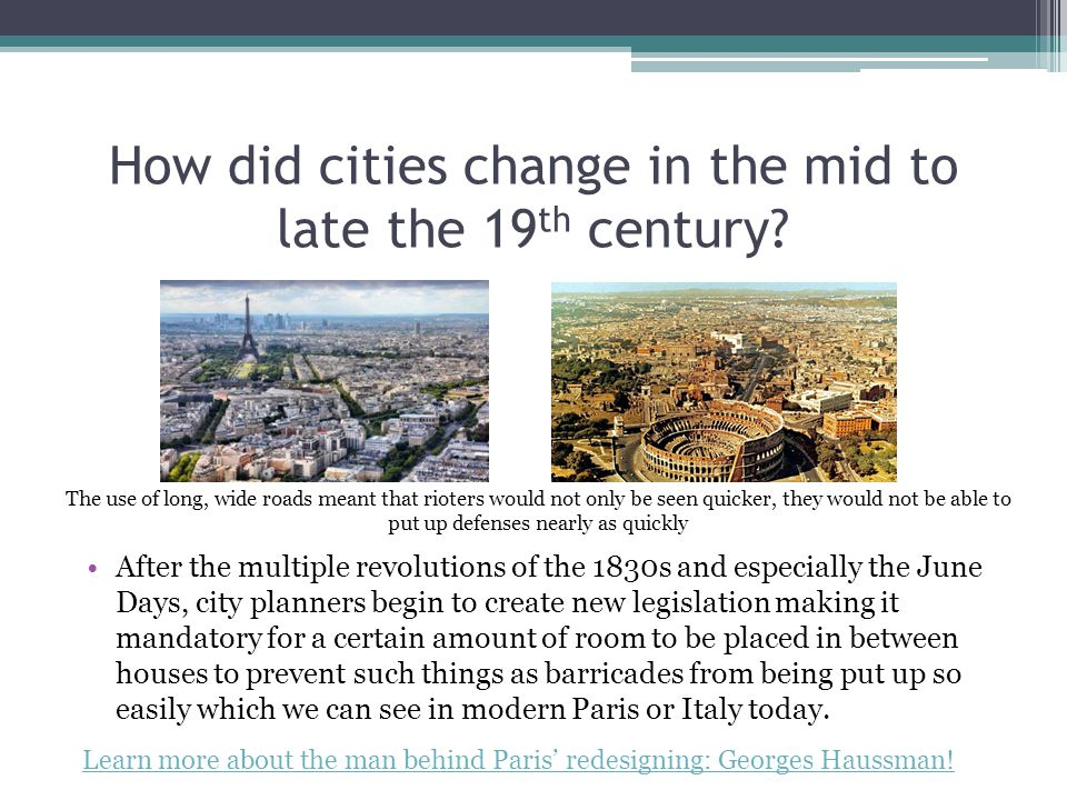 How did cities change in the mid to late the 19 th century.