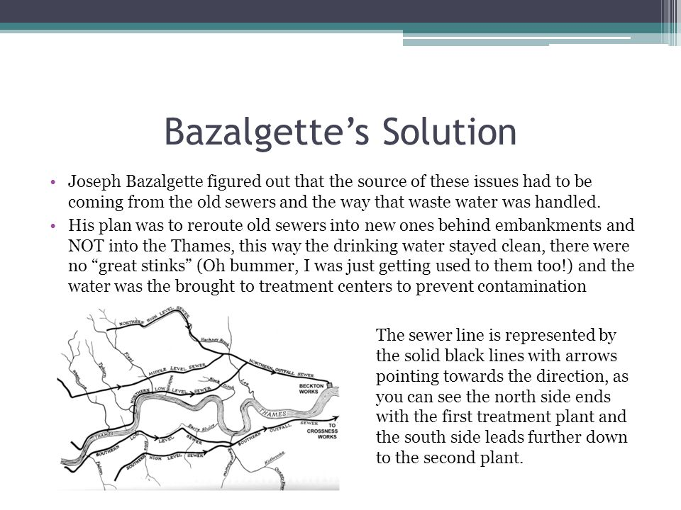 Bazalgette's Solution Joseph Bazalgette figured out that the source of these issues had to be coming from the old sewers and the way that waste water was handled.