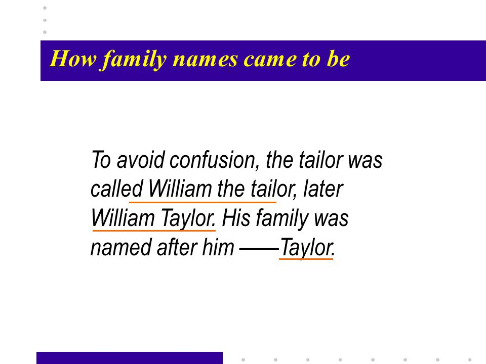Passage X24 How family names came to be To avoid confusion, the tailor was called William the tailor, later William Taylor.