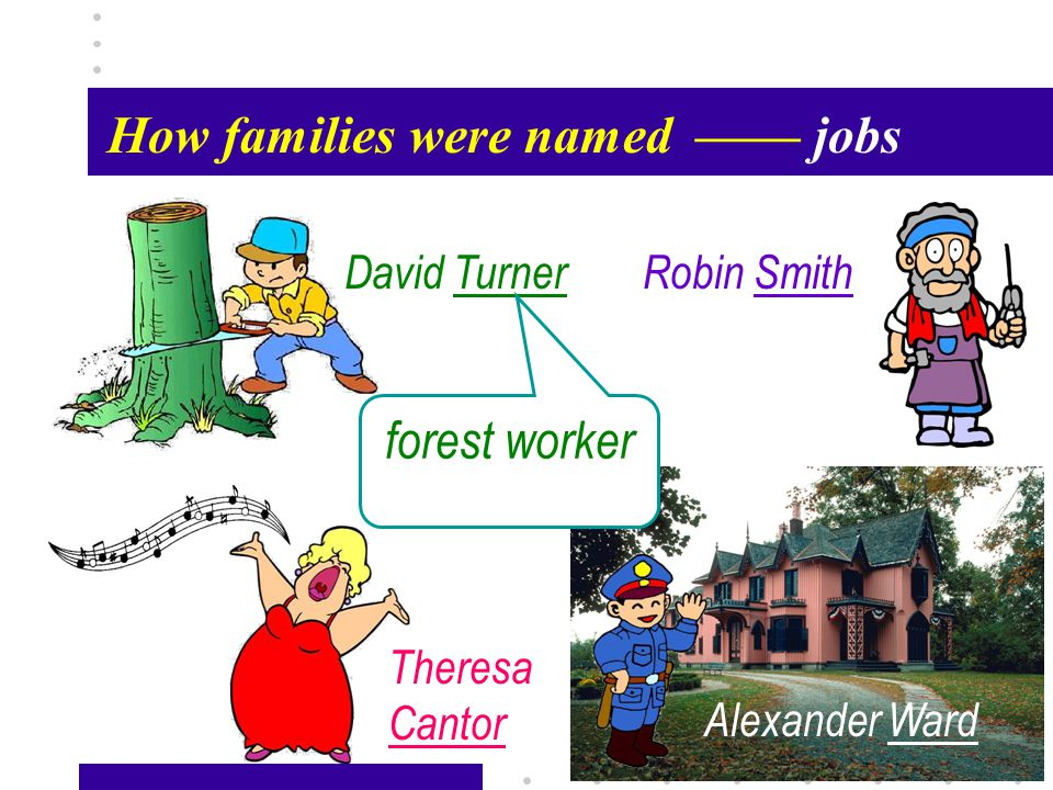 Passage X28 How families were named—— jobs Robin Smith Theresa Cantor David Turner Alexander Ward forest worker