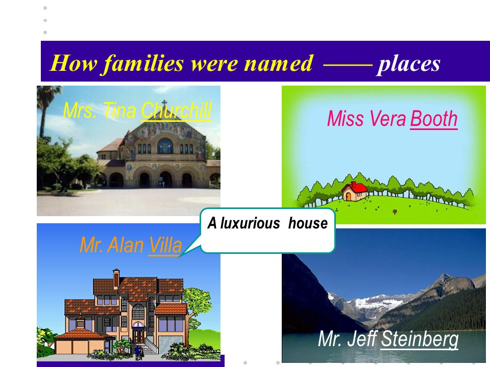 Passage X35 How families were named—— places Mr. Alan Villa Mrs.