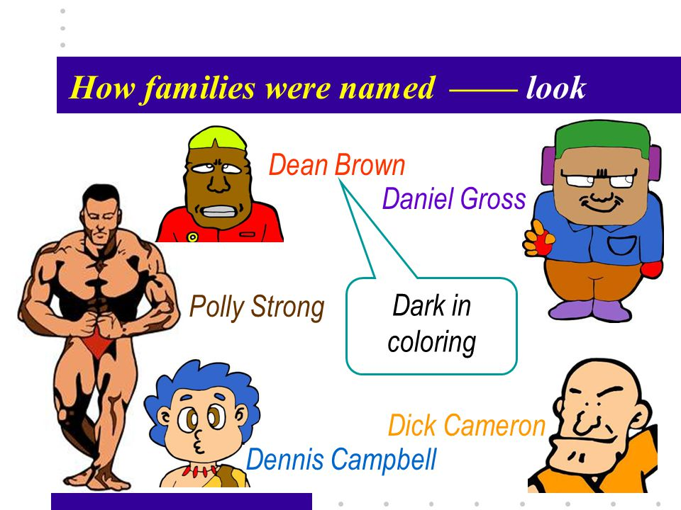 Passage X36 How families were named—— look Polly Strong Dean Brown Daniel Gross Dick Cameron Dennis Campbell Dark in coloring