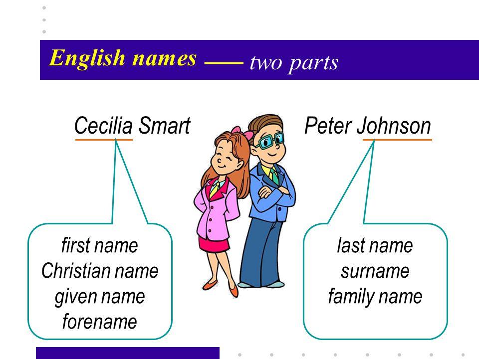 Passage X5 English names Cecilia Smart initial Her husband's Cecilia Johnson Cecilia S.