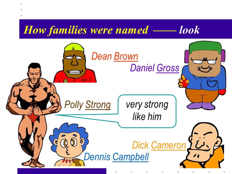 Passage X40 How families were named—— look Polly Strong Dean Brown Daniel Gross Dick Cameron Dennis Campbell very strong like him