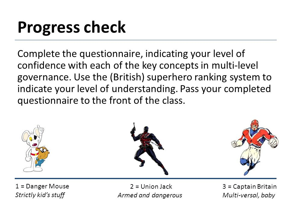 Progress check Complete the questionnaire, indicating your level of confidence with each of the key concepts in multi-level governance.