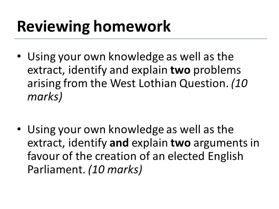 Study the model answer to the homework question about the WLQ.