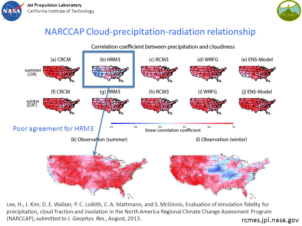 NARCCAP Cloud-precipitation-radiation relationship Lee, H., J. Kim, D. E. Waliser, P. C. Loikith, C. A. Mattmann, and S. McGinnis, Evaluation of simul