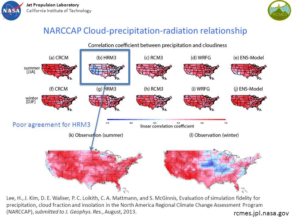 NARCCAP Cloud-precipitation-radiation relationship Lee, H., J.