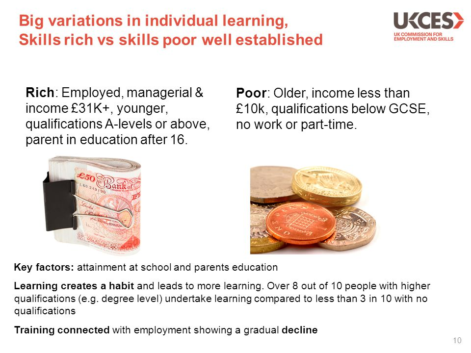 Big variations in individual learning, Skills rich vs skills poor well established Rich: Employed, managerial & income £31K+, younger, qualifications