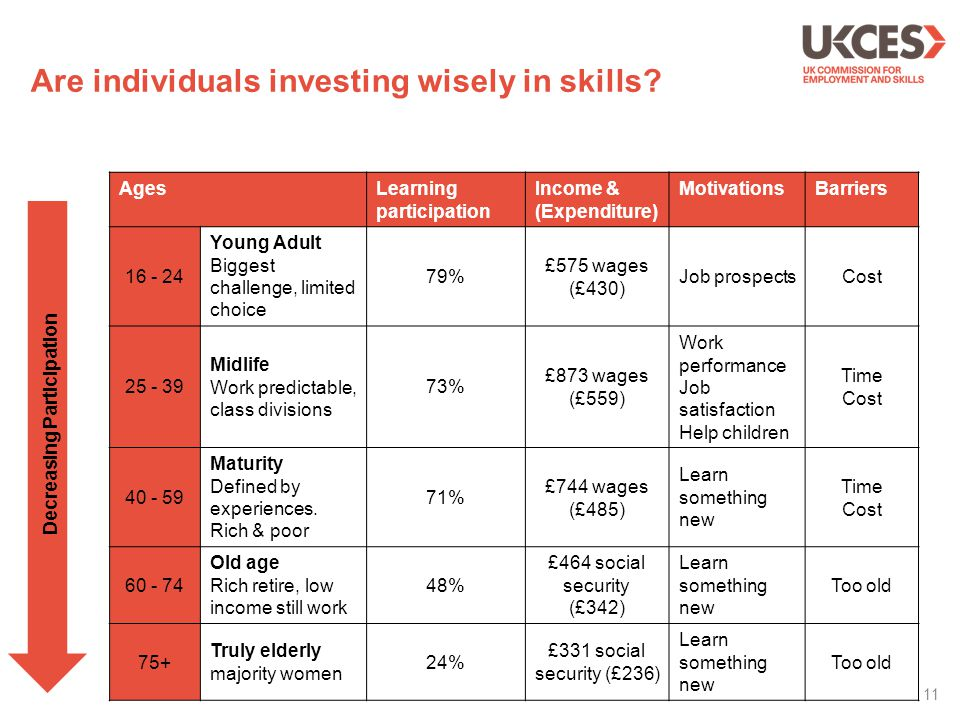 Are individuals investing wisely in skills? AgesLearning participation Income & (Expenditure) MotivationsBarriers 16 - 24 Young Adult Biggest challeng