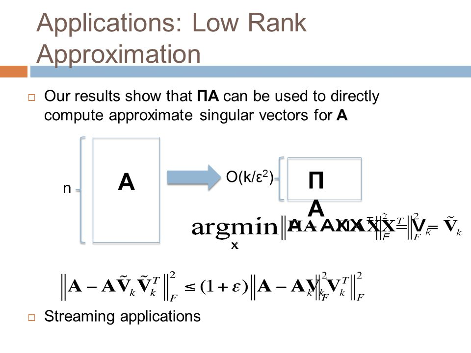 Applications: Low Rank Approximation  Our results show that ΠA can be used to directly compute approximate singular vectors for A A ΠAΠA n O(k/ε 2 )
