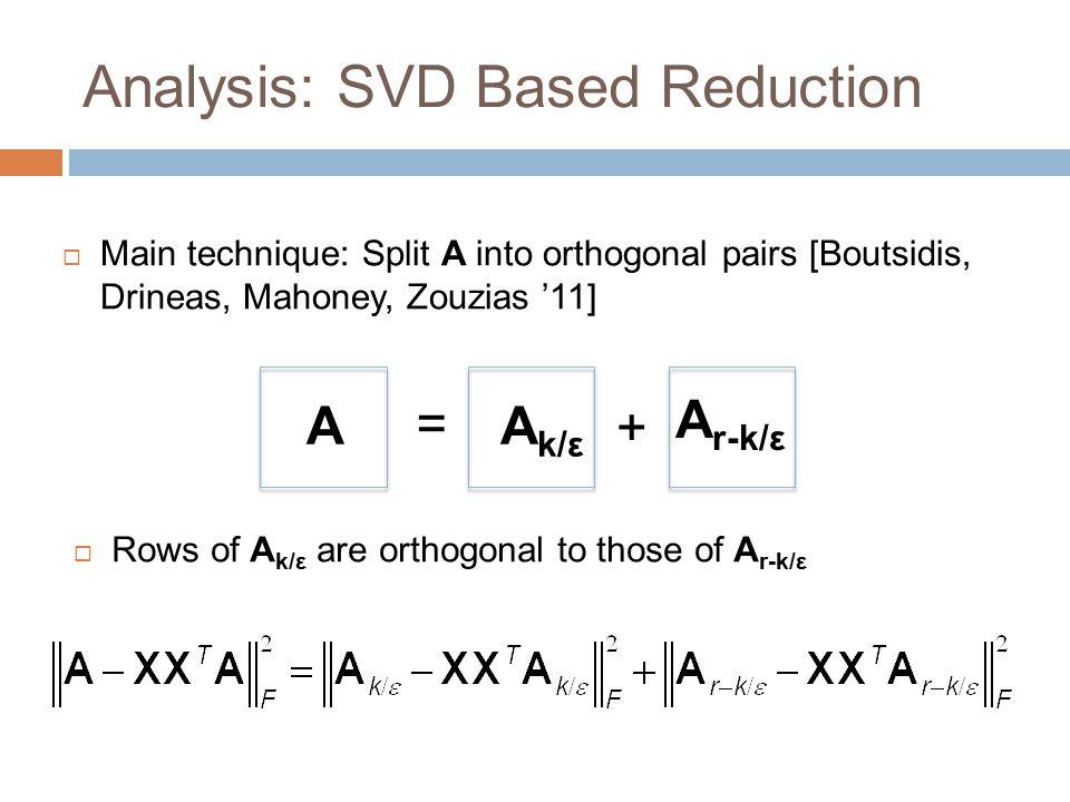 Analysis: SVD Based Reduction  Main technique: Split A into orthogonal pairs [Boutsidis, Drineas, Mahoney, Zouzias '11] AA k/ε A r-k/ε = +  Rows of