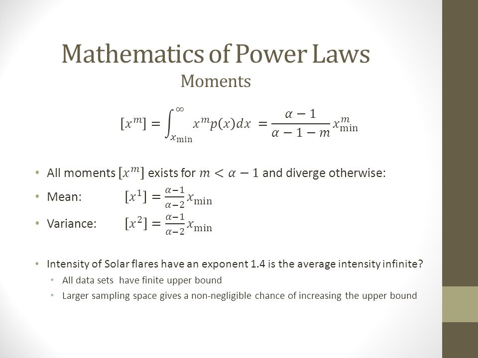 Mathematics of Power Laws Moments