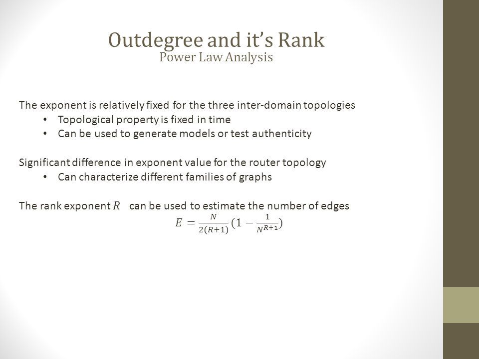 Outdegree and it's Rank Power Law Analysis